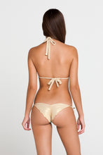 BURBUJAS DE AMOR - Triangle Halter Top & Wavey Ruched Back Brazilian Tie Side Bottom • Aqua