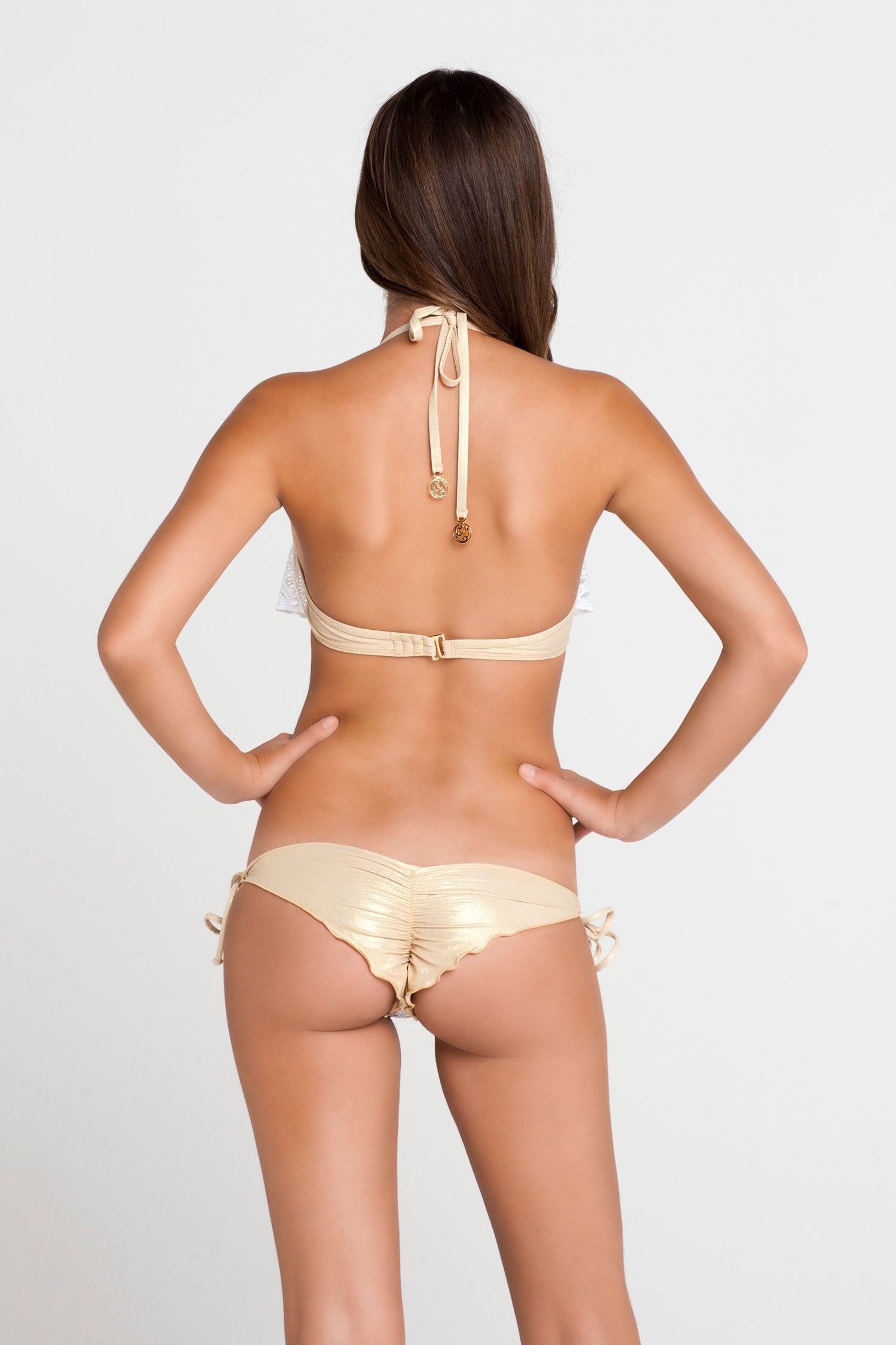 BURBUJAS DE AMOR - Cascade Push Up Underwire Top & Wavey Ruched Back Brazilian Tie Side Bottom • White