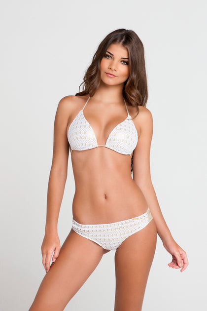 BURBUJAS DE AMOR - Molded Cup Push Up Tri Halter Top & Sassy Cheeks Bottom • White
