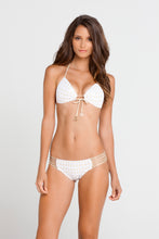 BURBUJAS DE AMOR - Molded Push Up Bandeau Halter Top & Multi Strings Full Bottom • White