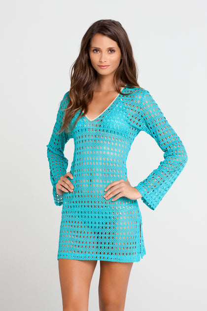 BURBUJAS DE AMOR - Plunge Dress • Aqua