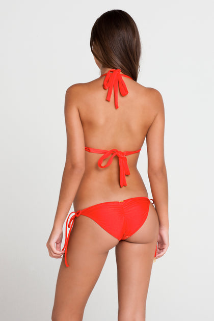 PASION Y ARENA - Triangle Halter Top & Wavey Ruched Back Brazilian Tie Side Bottom • Luli Red
