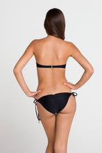 PASION Y ARENA - Ruched Underwire Push Up Bandeau Top & Tie Side Moderate Bottom • Black