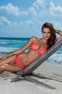 PASION Y ARENA - Triangle Top & Multi Braid Ruched Back Brazilian Bottom • Luli Red