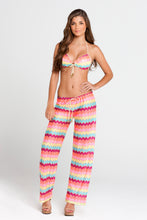 LA FAMA - Molded Push Up Bandeau Halter Top & Beach Pant • Multicolor