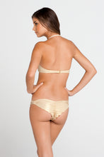 LA FAMA - Ruched Underwire Push Up Bandeau & Multi Braid Brazilian Ruched Back Bottom • Multicolor