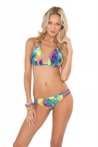 CLANDESTINA - Triangle Halter Top & Multi Strings Full Bottom • Multicolor