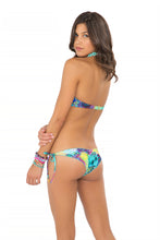 CLANDESTINA - Underwire Push Up Bandeau Top & Wavey Ruched Back Brazilian Tie Side Bottom • Multicolor