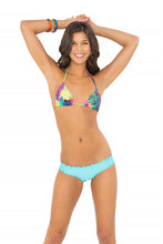 CLANDESTINA - Triangle Top & Wavey Brazilian Ruched Back Bottom • Aruba Blue