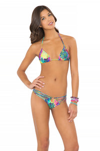 CLANDESTINA - Triangle Top & Strappy Brazilian Ruched Back Bottom • Multicolor