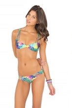 CLANDESTINA - Multi Cross Strap Bra Top & Strappy Cut Out Tiny Bottom • Multicolor