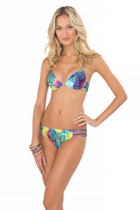 CLANDESTINA - Seamless Plunge Underwire Push Up Top & Multi Strings Full Bottom • Multicolor (865234878508)