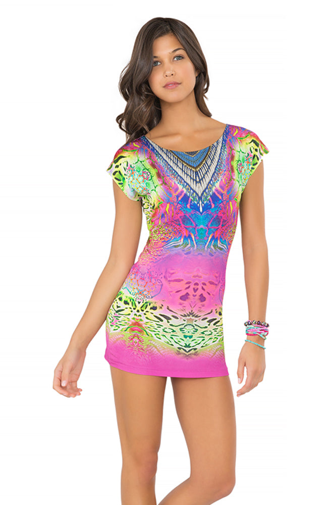 CLANDESTINA - Short Sleeve Bodycon Dress • Multicolor (865235009580)