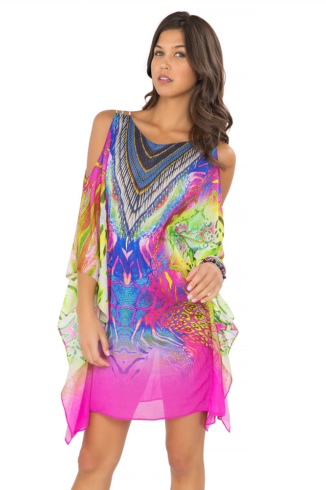 CLANDESTINA - Cut Out Sleeve Short Caftan • Multicolor