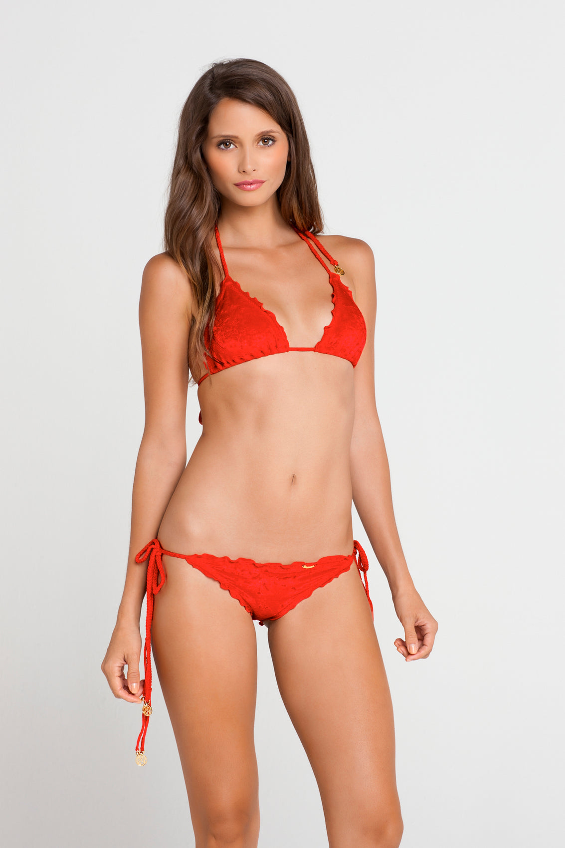 COSQUILLITAS - Wavey Triangle Top & Wavey Ruched Back Full Tie Side Bottom • Scarlet