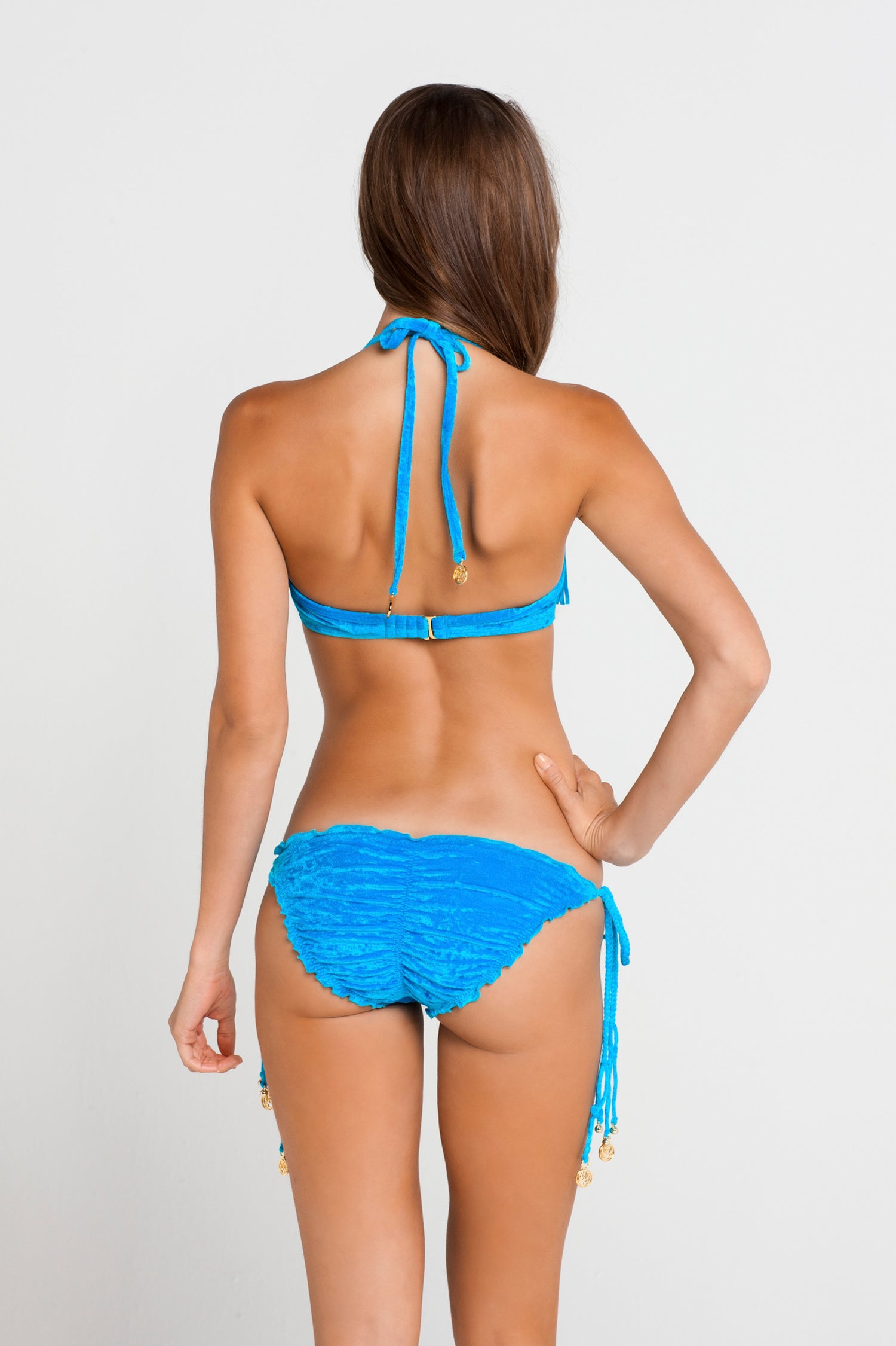 COSQUILLITAS - Plunge Push Up Fringe Underwire Top & Wavey Ruched Back Full Tie Side Bottom • Turquose