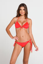 COSQUILLITAS - Molded Push Up Bandeau Halter Top & Wavey Ruched Back Brazilian Tie Side Bottom • Scarlet