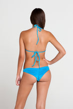 COSQUILLITAS - Molded Push Up Bandeau Halter Top & Multi Braid Brazilian Ruched Back Bottom • Turquose