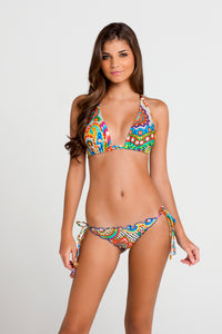 SAMBA CARACOL - Triangle Halter Top & Wavey Ruched Back Brazilian Tie Side Bottom • Multicolor