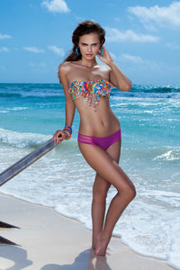 SAMBA CARACOL - Tassels Bandeau Top & Bootylicious Minimal Coverage Bottom • Dancing Orchid