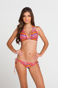 RON Y PARAISO - Triangle Halter Top & Wavey Ruched Back Brazilian Tie Side Bottom • Multicolor