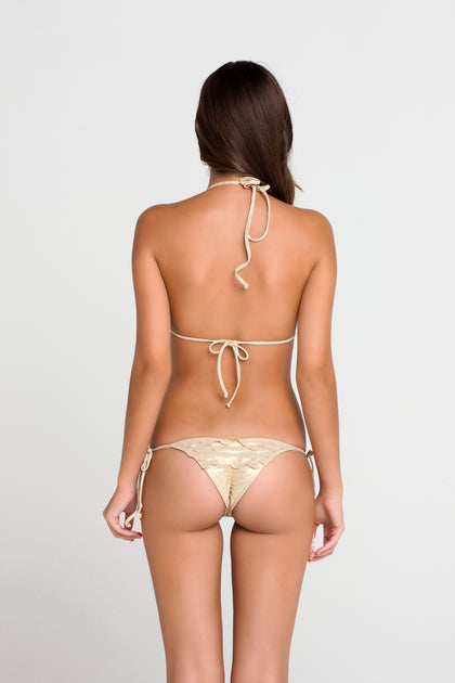 SI SOY SIRENA - Scalloped Triangle Top & Scalloped Back Brazilian Tie Side Bottom • Gold Rush