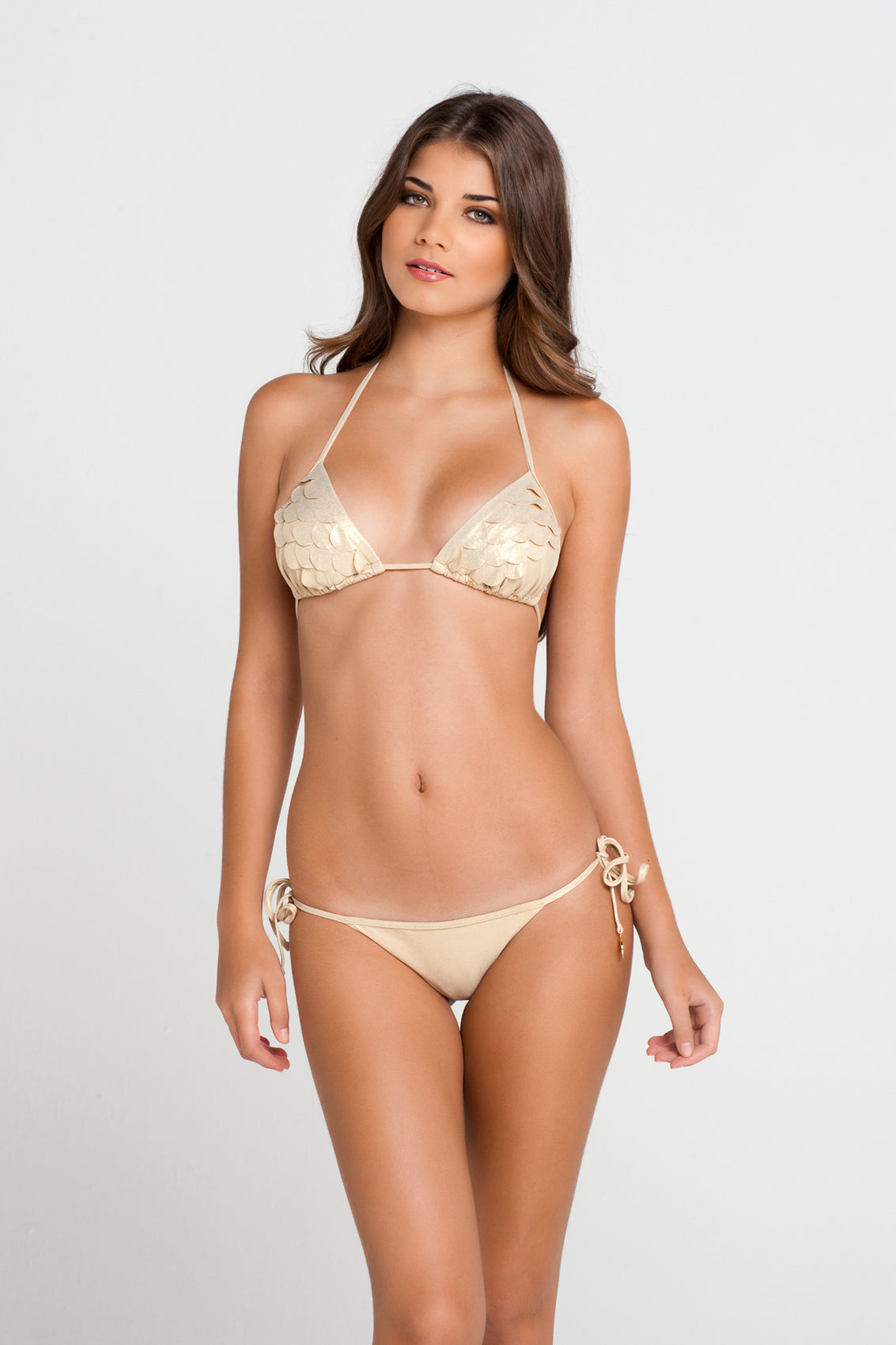 SI SOY SIRENA - Scalloped Triangle Top & Scalloped Back Brazilian Tie Side Bottom • Gold Rush (862757290028)