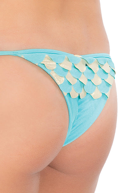 SI SOY SIRENA - Scalloped Triangle Top & Scalloped Back Brazilian Tie Side Bottom • Aruba-gold