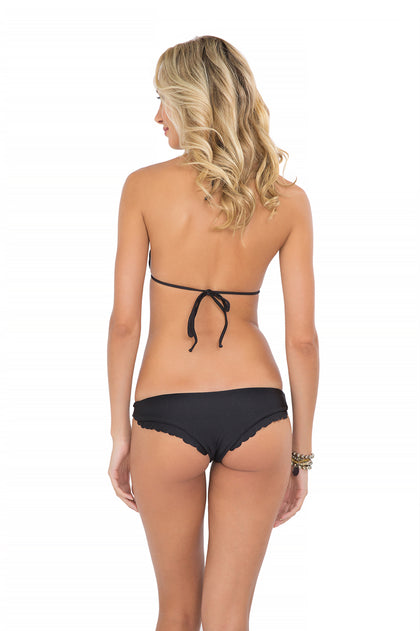 SI SOY SIRENA - Scalloped Triangle Top & Scalloped Back Minimal Coverage Bottom • Black