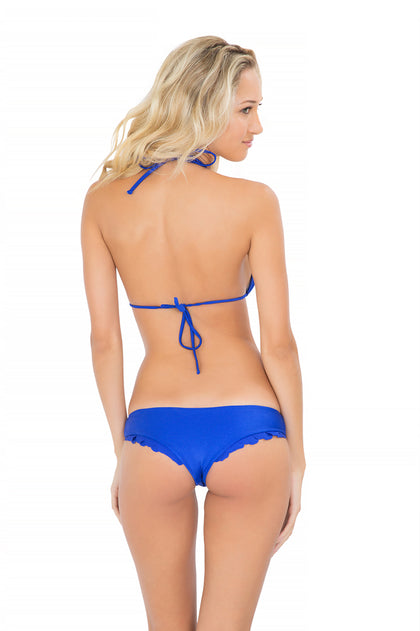 SI SOY SIRENA - Scalloped Triangle Top & Scalloped Back Minimal Coverage Bottom • Electric Blue