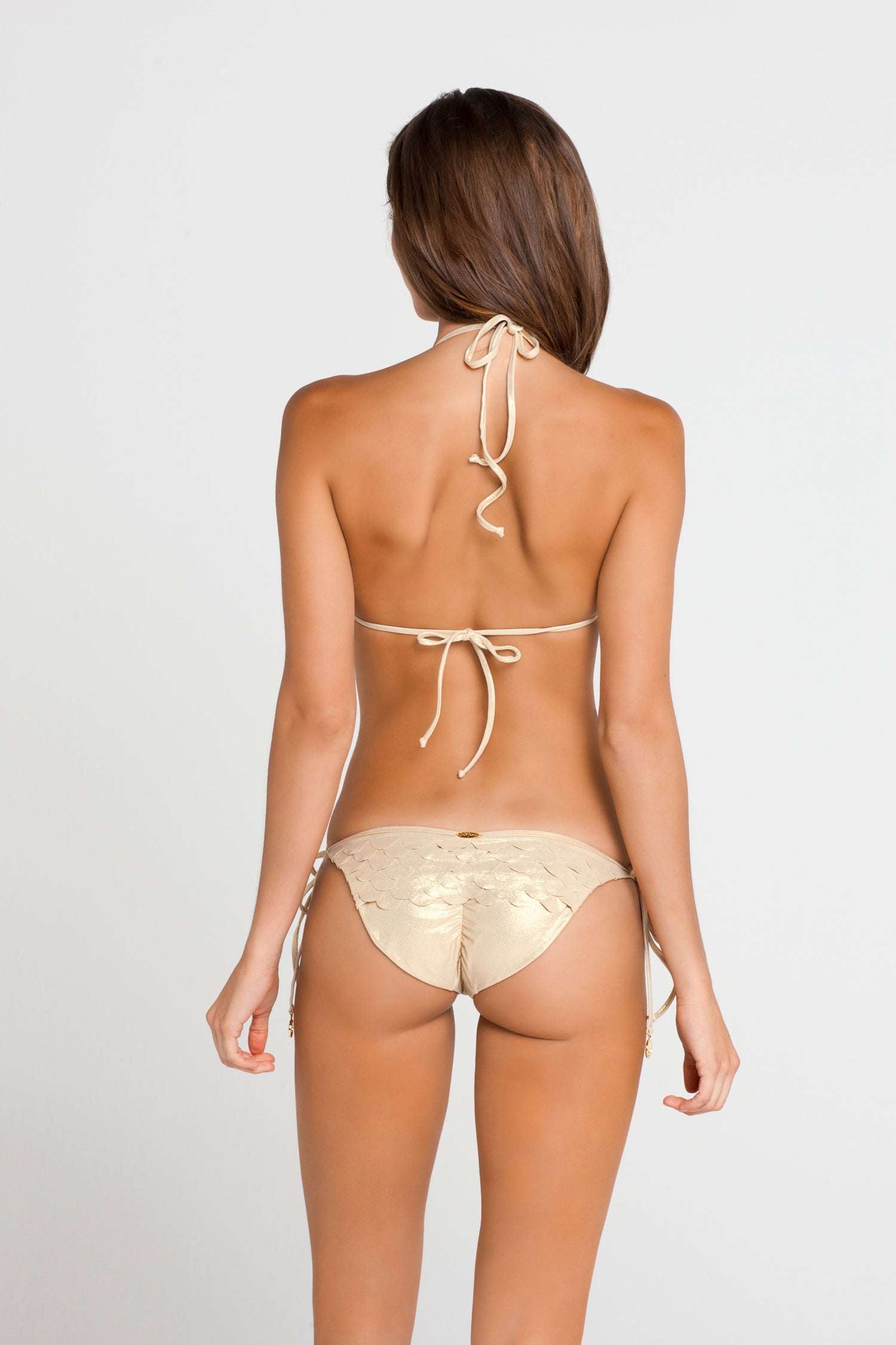 SI SOY SIRENA - Scalloped Triangle Top & Scalloped Back Tie Side Ruched Full Bottom • Gold Rush