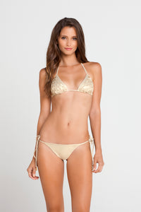 SI SOY SIRENA - Scalloped Triangle Top & Scalloped Back Tie Side Ruched Full Bottom • Gold Rush (862759485484)