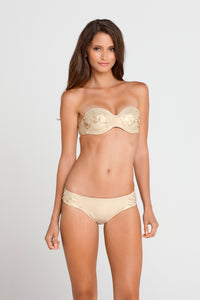 SI SOY SIRENA - Scalloped Underwire Push Up Bandeau Top & Scalloped Full Bottom • Gold Rush