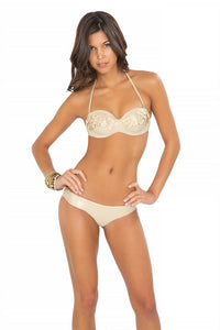SI SOY SIRENA - Scalloped Underwire Push Up Bandeau Top & Scalloped Back Minimal Coverage Bottom • Gold Rush