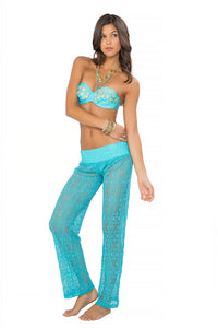 SI SOY SIRENA - Scalloped Underwire Push Up Bandeau Top & Poolside Pants • Aruba Blue
