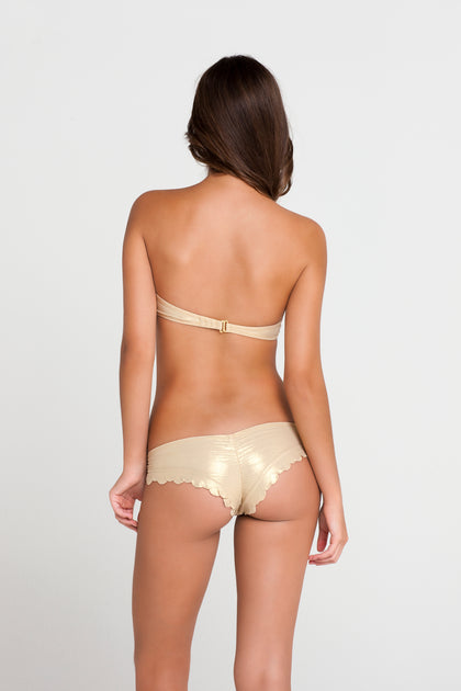 SI SOY SIRENA - Scalloped Underwire Push Up Bandeau Top & Scalloped Back Sassy Cheeks Bottom • Gold Rush
