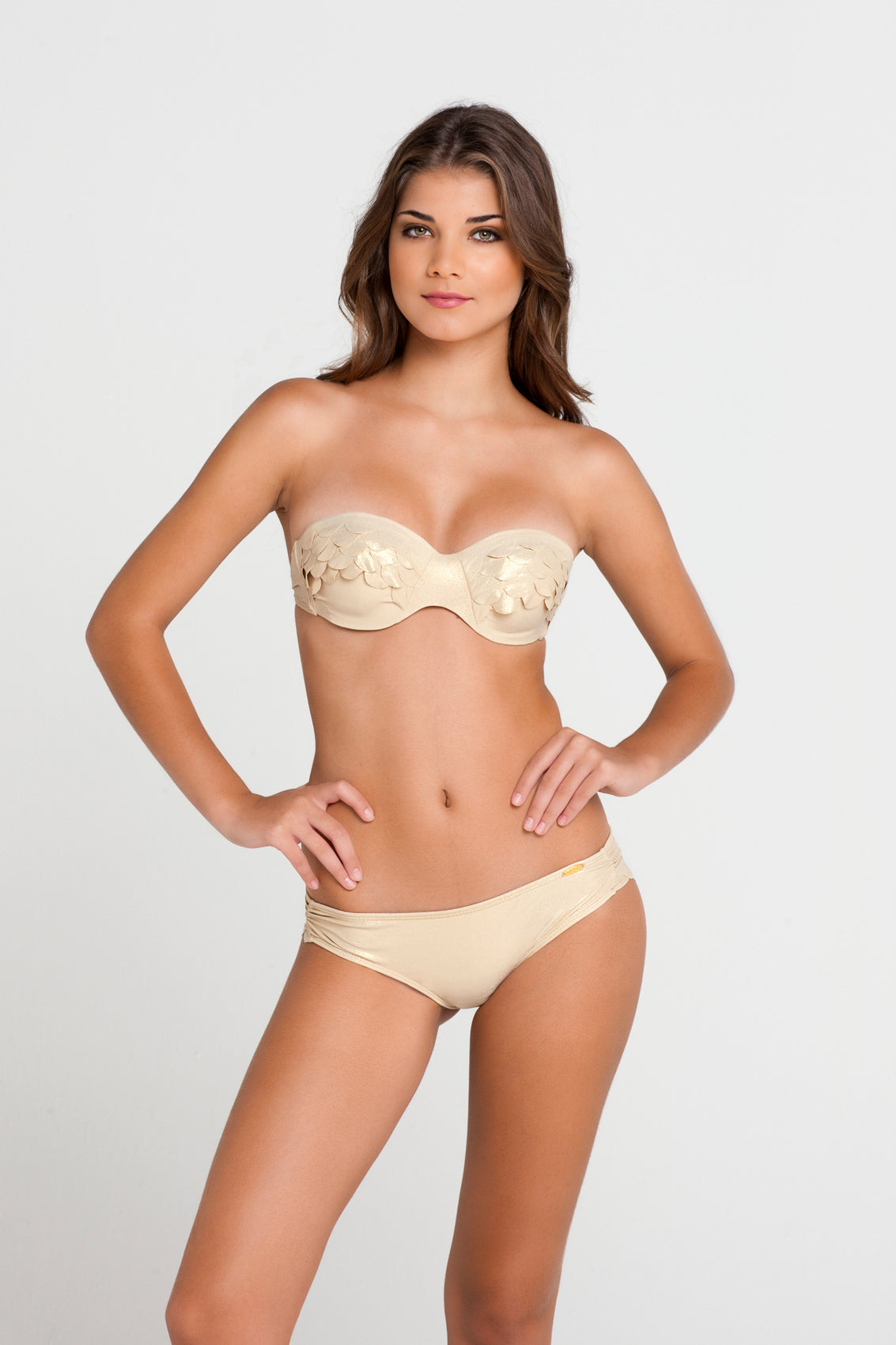 SI SOY SIRENA - Scalloped Underwire Push Up Bandeau Top & Scalloped Back Sassy Cheeks Bottom • Gold Rush (862761091116)