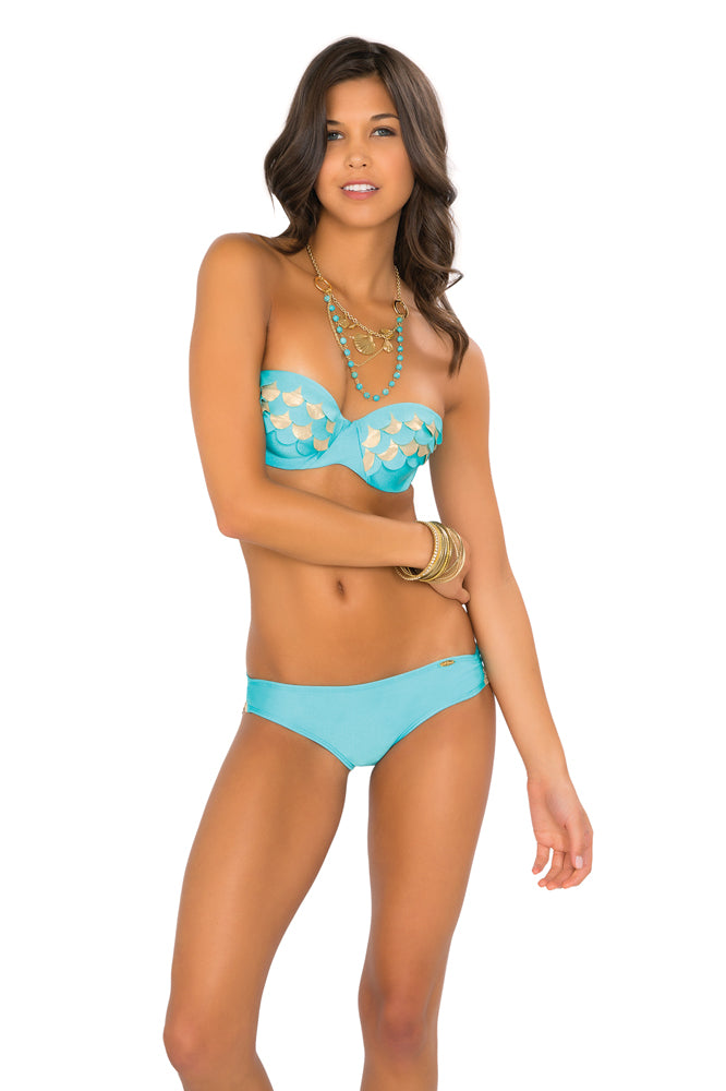 SI SOY SIRENA - Scalloped Underwire Push Up Bandeau Top & Scalloped Back Sassy Cheeks Bottom • Aruba-gold