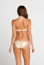 SI SOY SIRENA - Scalloped Underwire Push Up Bandeau Top & Scalloped Back Tie Side Ruched Full Bottom • Gold Rush
