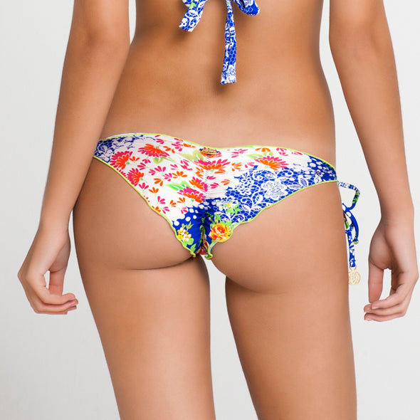 SPANISH LULLABY - Wavey Ruched Back Brazilian Tie Side Bottom