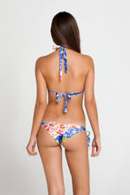 SPANISH LULLABY - Triangle Halter Top & Wavey Ruched Back Brazilian Tie Side Bottom • Multicolor