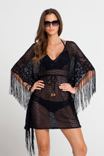 FLIRTY FRINGE - Flirty Caftan Fringe Dress • Black