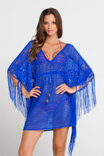 FLIRTY FRINGE - Flirty Caftan Fringe Dress • Electric Blue