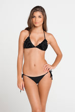 BON BON CHA CHA - Ruffle Triangle Top & Brazilian Tie Side Bottom • Black