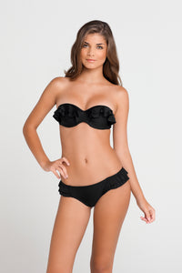 BON BON CHA CHA - Underwire Push Up Bandeau & Ruffle Full Bottom • Black