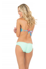 BAJO UN MISMO SOL - Zig Zag Open Center Bandeau Top & Full Ruched Back Bottom • Mint Convertible