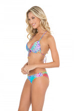 BAJO UN MISMO SOL - Molded Push Up Bandeau Halter Top & Full Ruched Back Bottom • Multicolor