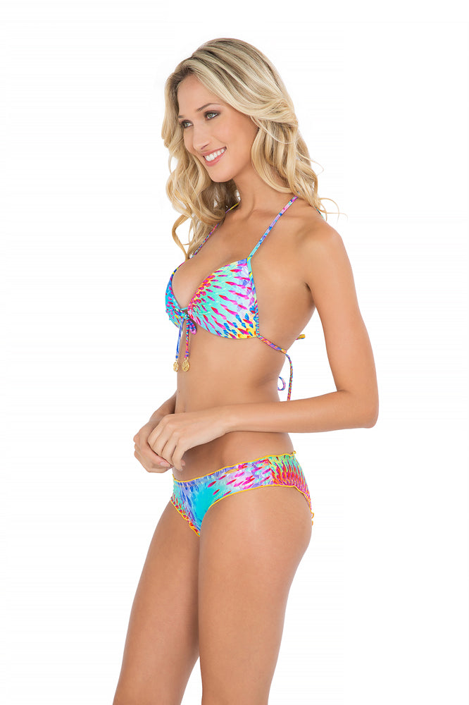 BAJO UN MISMO SOL - Molded Push Up Bandeau Halter Top & Full Ruched Back Bottom • Multicolor (865210859564)