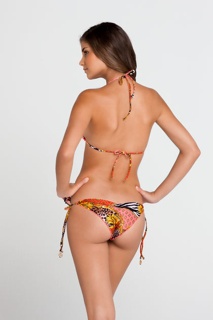 DANCING IN PARADISE - Wavey Triangle Top & Wavey Ruched Back Brazilian Tie Side Bottom • Multicolor