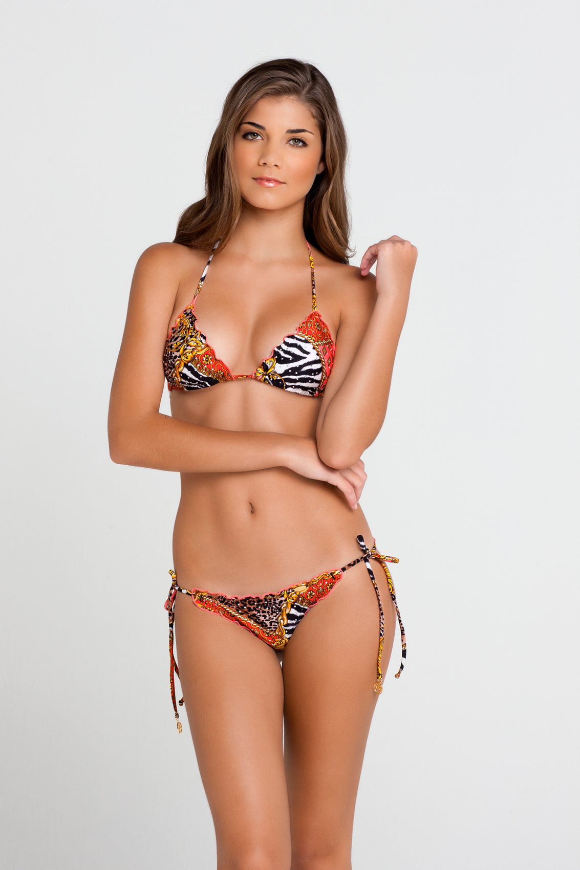 DANCING IN PARADISE - Wavey Triangle Top & Wavey Ruched Back Brazilian Tie Side Bottom • Multicolor (862512414764)